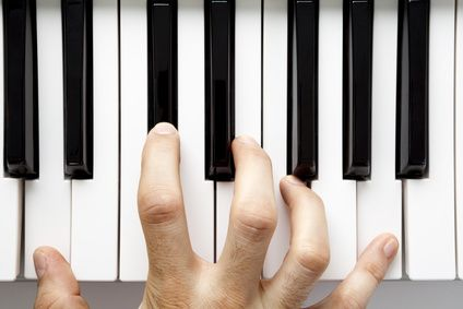 A hand playing the piano from a high angle view